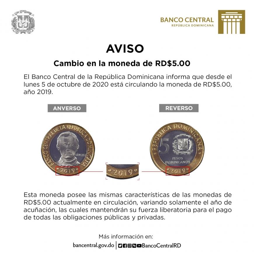Banco Central avisa sobre cambio en moneda de 5 pesos